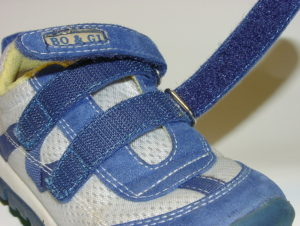 Blue velcro shoe