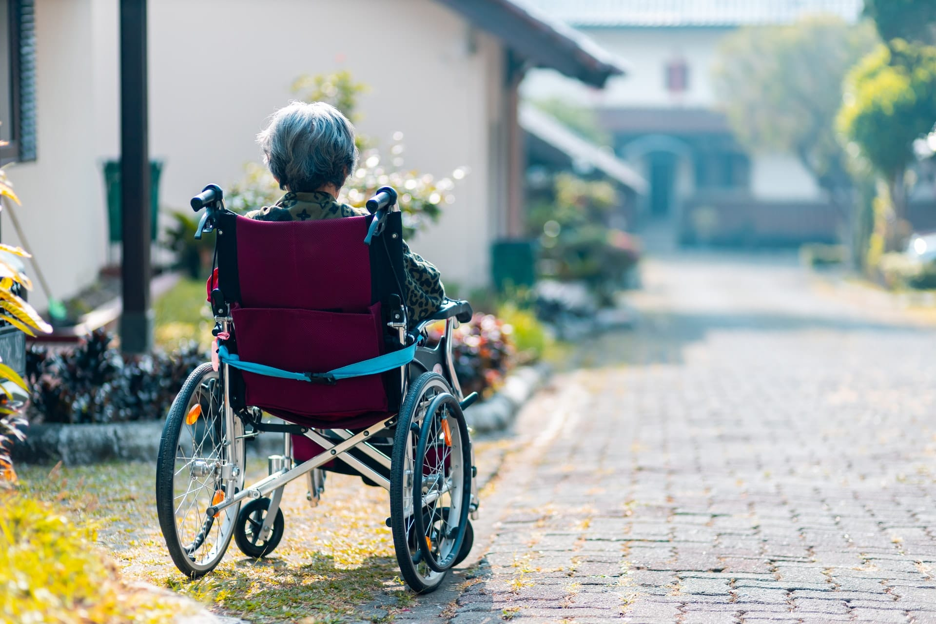 A senior woman overlooks her front yard.