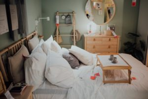 Hospital bed for home: a hospital bed set up in a home