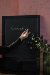 "Chalkboard with ""goodbye"""