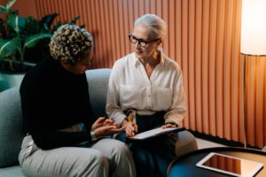A caregiving interview between two women