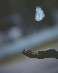 A hand reaching out to catch a small white feather.