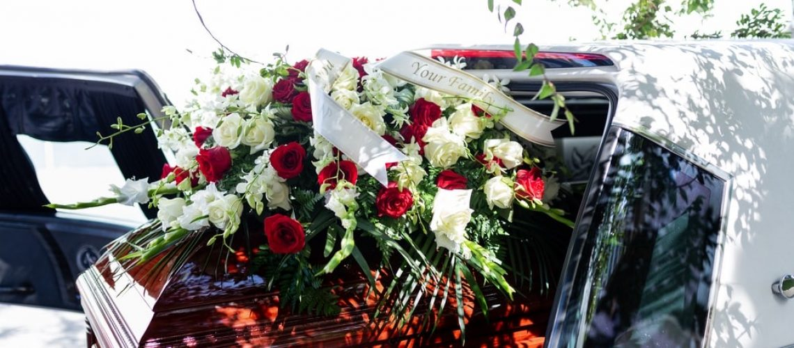 Casket with flower