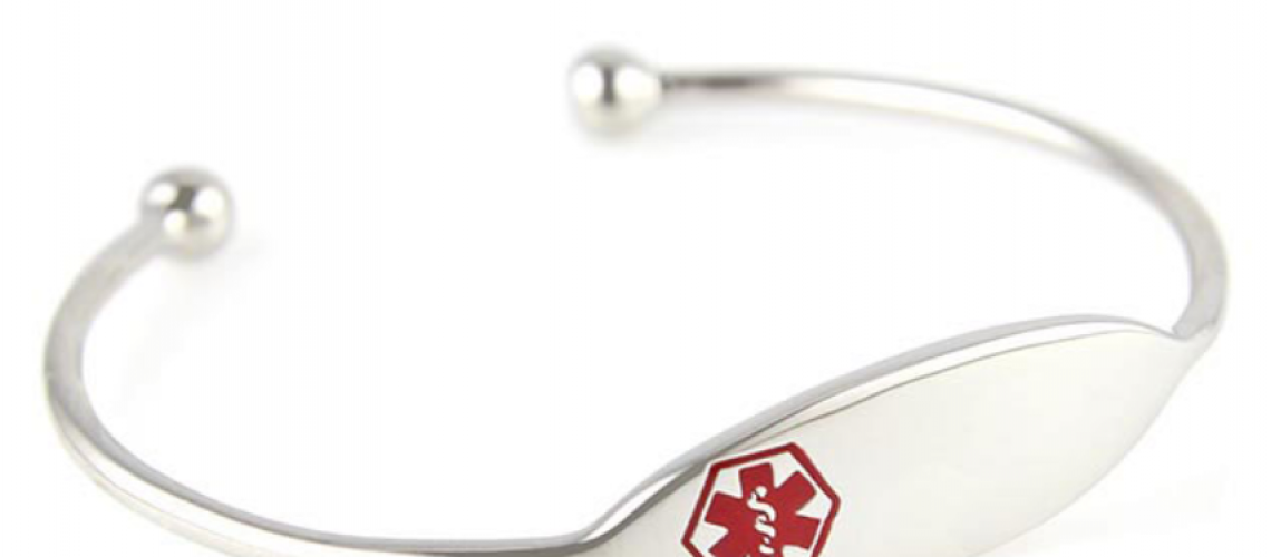 a silver medical alert bracelet