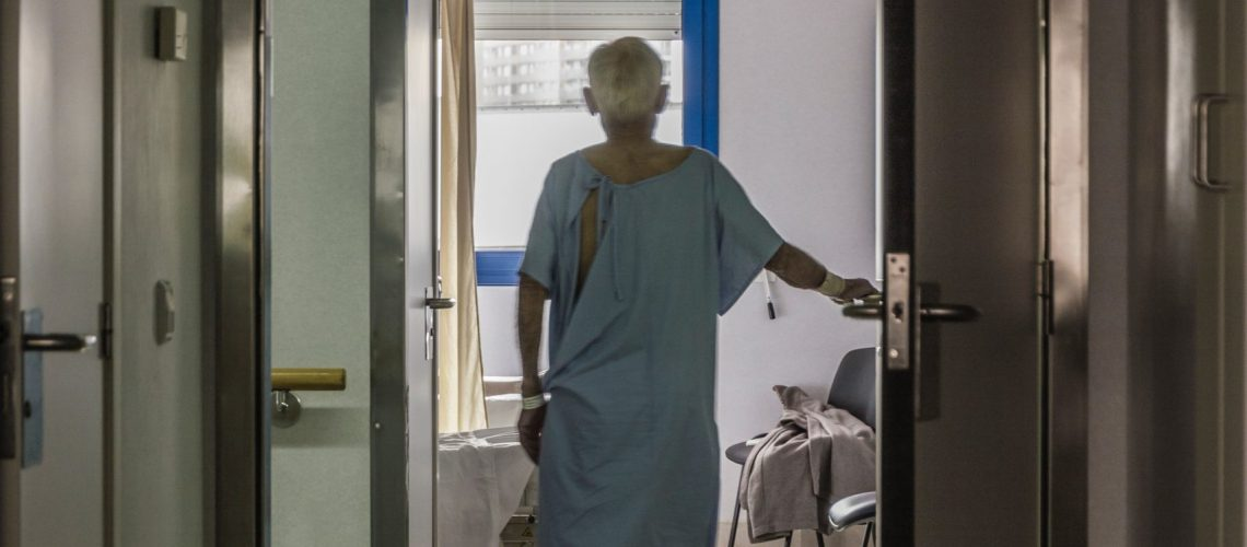 Elderly person in a hospital