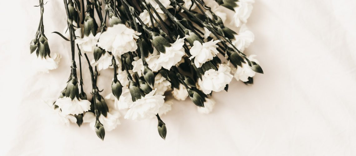 White memorial flowers
