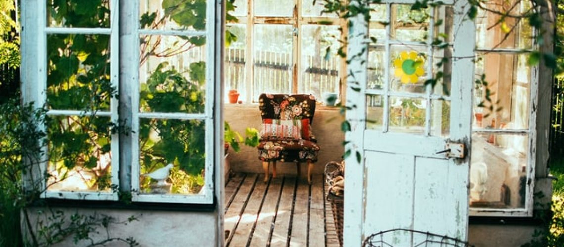 A shed shed with vines and a chair on the inside