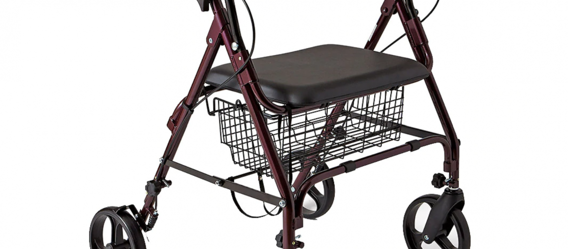 A rollator with a seat, basket, and four wheels