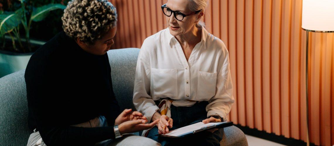 A caregiving interview between two women