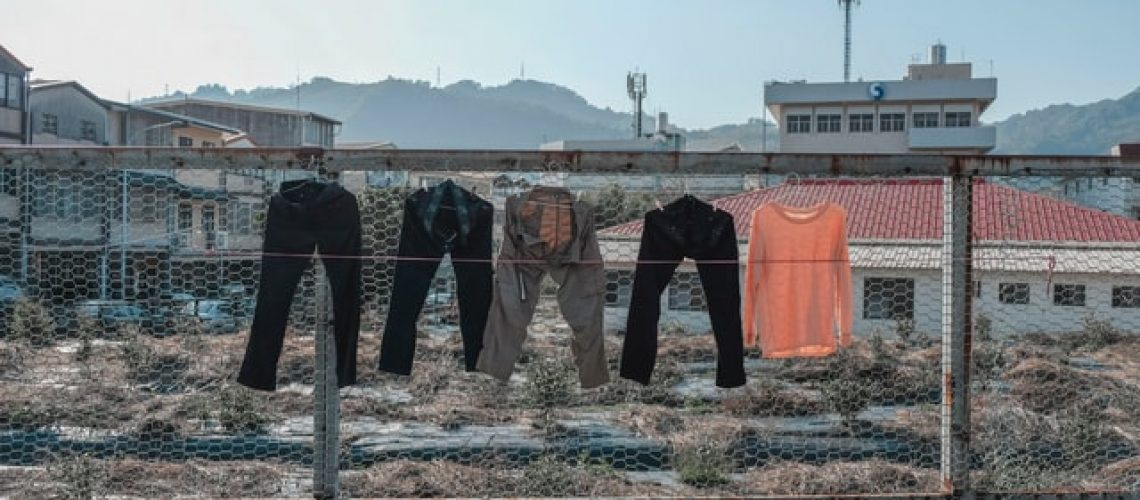 clothes hanging up to dry outside